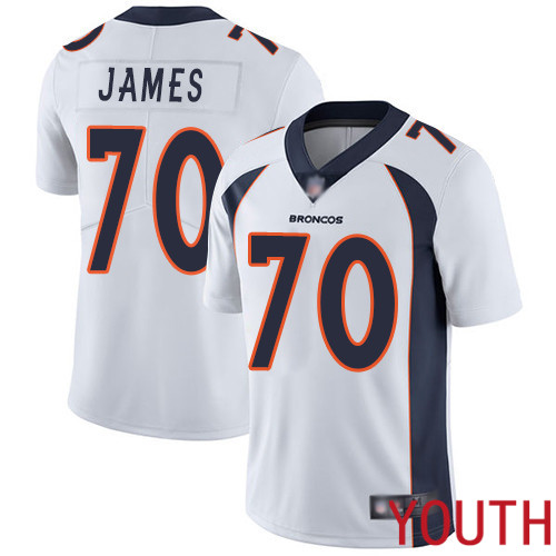 Youth Denver Broncos 70 Ja Wuan James White Vapor Untouchable Limited Player Football NFL Jersey