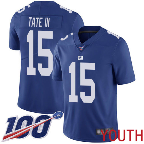 Wholesale Youth New York Giants 15 Golden Tate III Royal Blue Team Color Vapor Untouchable Limited Player 100th Season Football NFL Jersey
