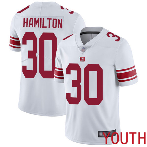 Youth New York Giants 30 Antonio Hamilton White Vapor Untouchable Limited Player Football NFL Jersey