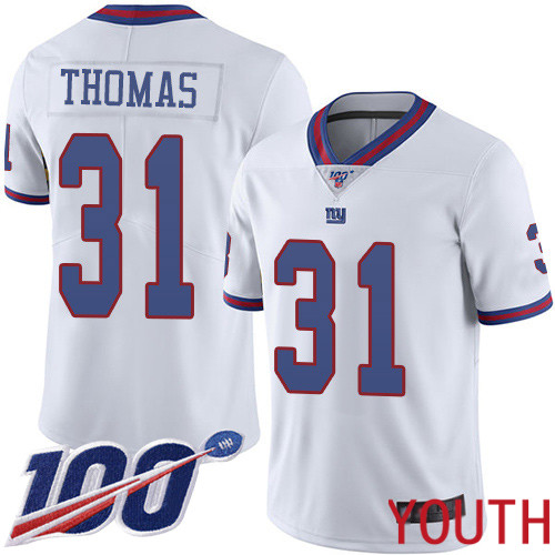 Youth New York Giants 31 Michael Thomas Limited White Rush Vapor Untouchable 100th Season Football NFL Jersey