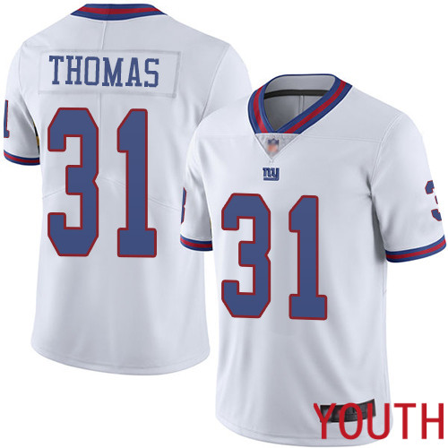 Youth New York Giants 31 Michael Thomas Limited White Rush Vapor Untouchable Football NFL Jersey