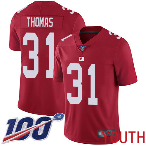 Youth New York Giants 31 Michael Thomas Red Limited Red Inverted Legend 100th Season Football NFL Jersey