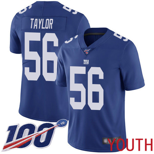 Youth New York Giants 56 Lawrence Taylor Royal Blue Team Color Vapor Untouchable Limited Player 100th Season Football NFL Jersey