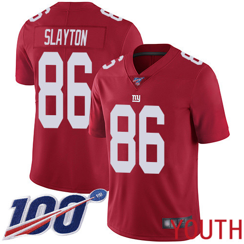 Youth New York Giants 86 Darius Slayton Red Limited Red Inverted Legend 100th Season Football NFL Jersey