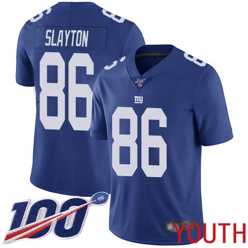 Youth New York Giants 86 Darius Slayton Royal Blue Team Color Vapor Untouchable Limited Player 100th Season Football NFL Jersey