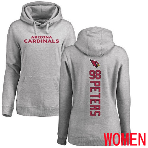 Arizona Cardinals Ash Women Corey Peters Backer NFL Football 98 Pullover Hoodie Sweatshirts