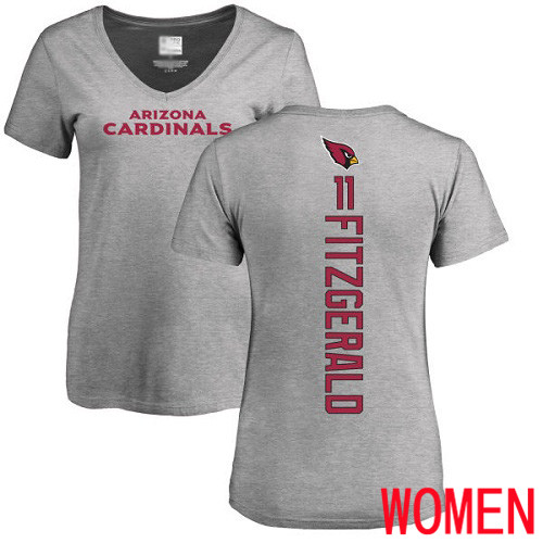 Arizona Cardinals Ash Women Larry Fitzgerald Backer V-Neck NFL Football 11 T Shirt