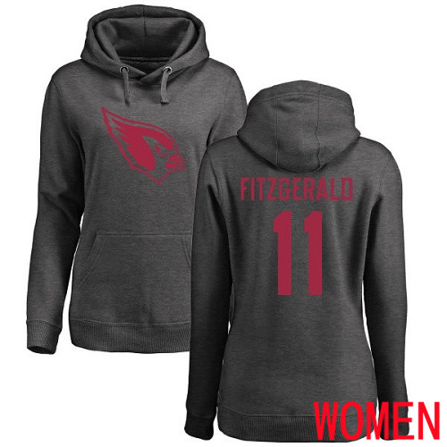 Arizona Cardinals Ash Women Larry Fitzgerald One Color NFL Football 11 Pullover Hoodie Sweatshirts