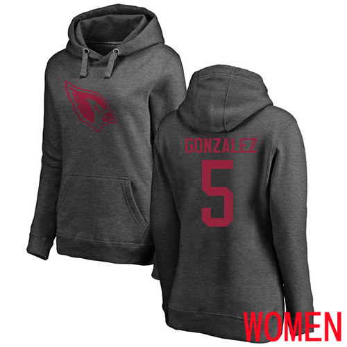 Arizona Cardinals Ash Women Zane Gonzalez One Color NFL Football 5 Pullover Hoodie Sweatshirts