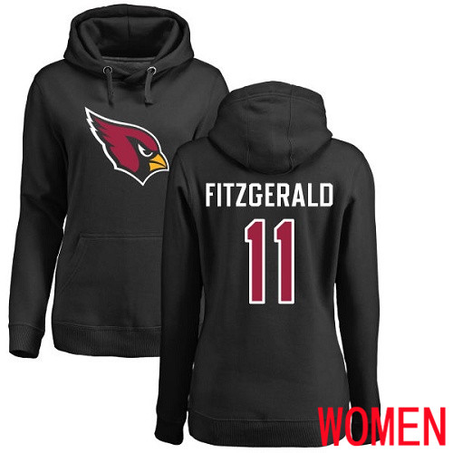 Arizona Cardinals Black Women Larry Fitzgerald Name And Number Logo NFL Football 11 Pullover Hoodie Sweatshirts