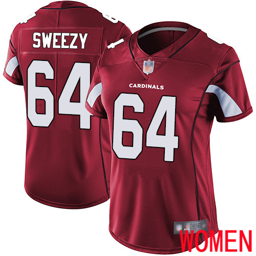 Arizona Cardinals Limited Red Women J.R. Sweezy Home Jersey NFL Football 64 Vapor Untouchable
