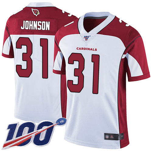 Arizona Cardinals Limited White Men David Johnson Road Jersey NFL Football 31 100th Season Vapor Untouchable