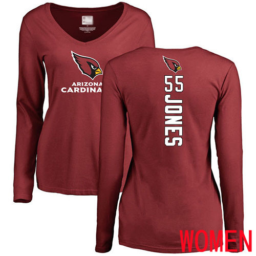 Arizona Cardinals Maroon Women Chandler Jones Backer NFL Football 55 Long Sleeve T Shirt