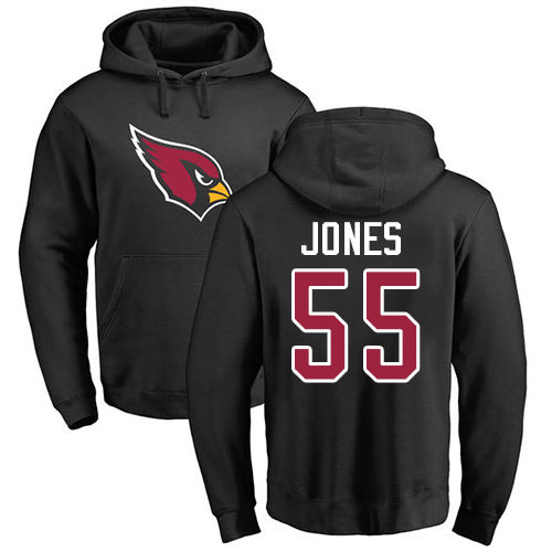 Arizona Cardinals Men Black Chandler Jones Name And Number Logo NFL Football 55 Pullover Hoodie Sweatshirts