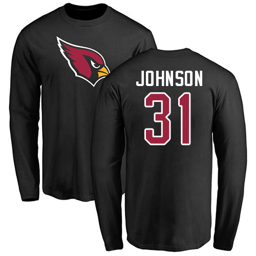Arizona Cardinals Men Black David Johnson Name And Number Logo NFL Football 31 Long Sleeve T Shirt