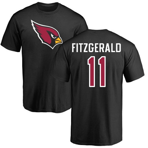 Arizona Cardinals Men Black Larry Fitzgerald Name And Number Logo NFL Football 11 T Shirt