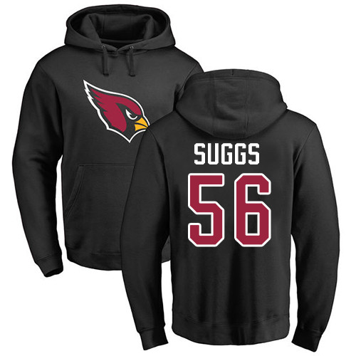 Arizona Cardinals Men Black Terrell Suggs Name And Number Logo NFL Football 56 Pullover Hoodie Sweatshirts