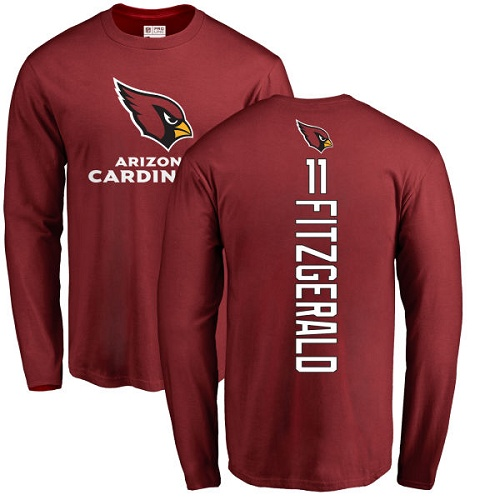 Arizona Cardinals Men Maroon Larry Fitzgerald Backer NFL Football 11 Long Sleeve T Shirt