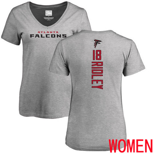 Atlanta Falcons Ash Women Calvin Ridley Backer NFL Football 18 T Shirt
