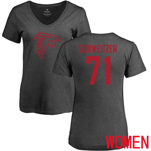 Atlanta Falcons Ash Women Wes Schweitzer One Color NFL Football 71 T Shirt