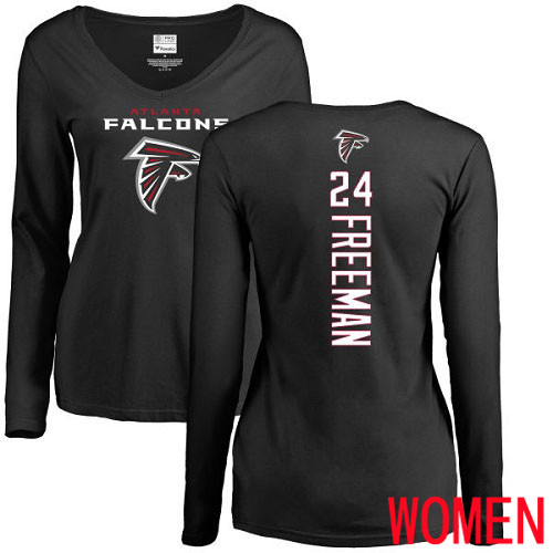 Atlanta Falcons Black Women Devonta Freeman Backer NFL Football 24 Long Sleeve T Shirt