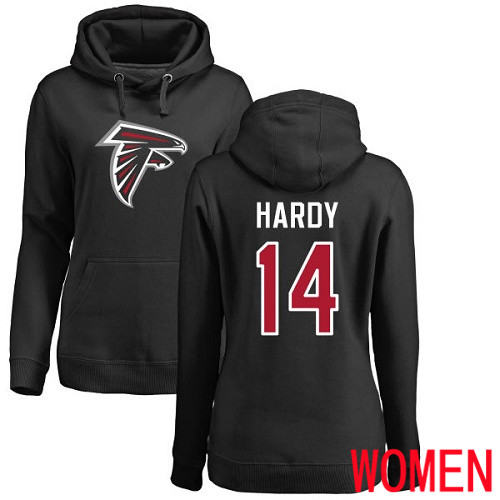 Atlanta Falcons Black Women Justin Hardy Name And Number Logo NFL Football 14 Pullover Hoodie Sweatshirts