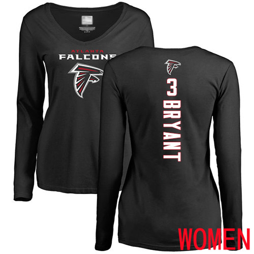 Atlanta Falcons Black Women Matt Bryant Backer NFL Football 3 Long Sleeve T Shirt