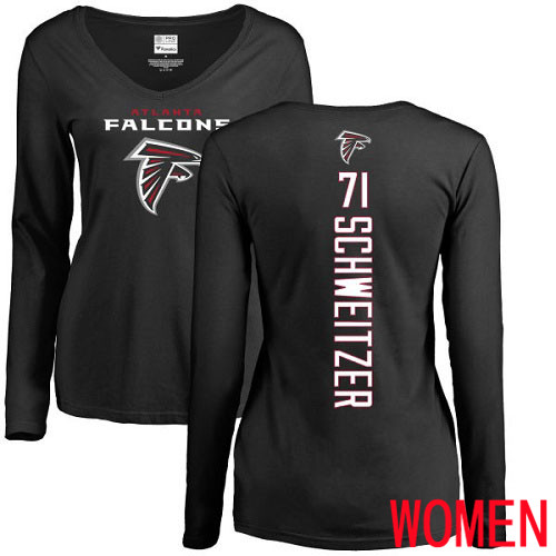 Atlanta Falcons Black Women Wes Schweitzer Backer NFL Football 71 Long Sleeve T Shirt