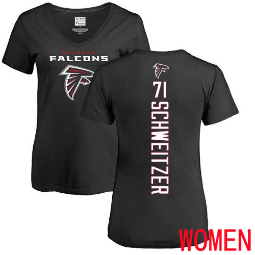 Atlanta Falcons Black Women Wes Schweitzer Backer NFL Football 71 T Shirt