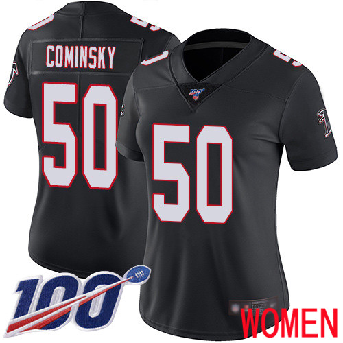 Atlanta Falcons Limited Black Women John Cominsky Alternate Jersey NFL Football 50 100th Season Vapor Untouchable