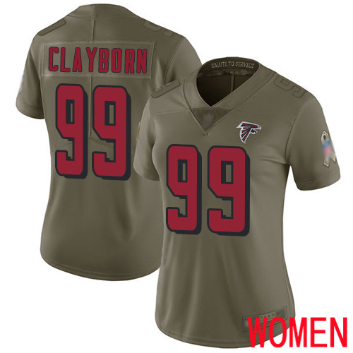 Atlanta Falcons Limited Olive Women Adrian Clayborn Jersey NFL Football 99 2017 Salute to Service