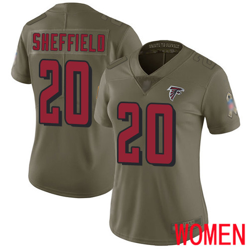 Atlanta Falcons Limited Olive Women Kendall Sheffield Jersey NFL Football 20 2017 Salute to Service