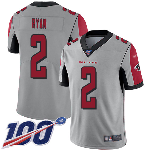 Atlanta Falcons Limited Silver Men Matt Ryan Jersey NFL Football 2 100th Season Inverted Legend