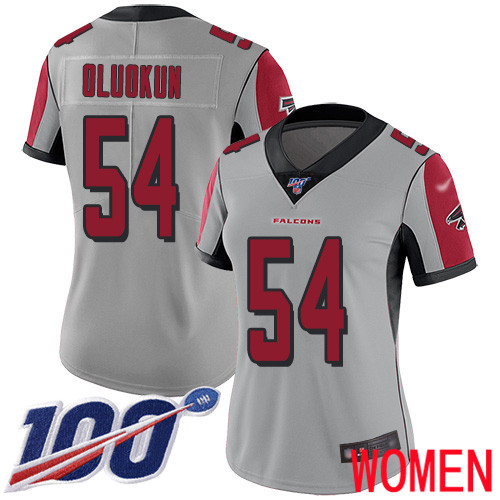 Atlanta Falcons Limited Silver Women Foye Oluokun Jersey NFL Football 54 100th Season Inverted Legend