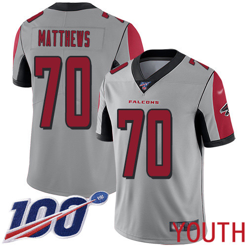 Atlanta Falcons Limited Silver Youth Jake Matthews Jersey NFL Football 70 100th Season Inverted Legend