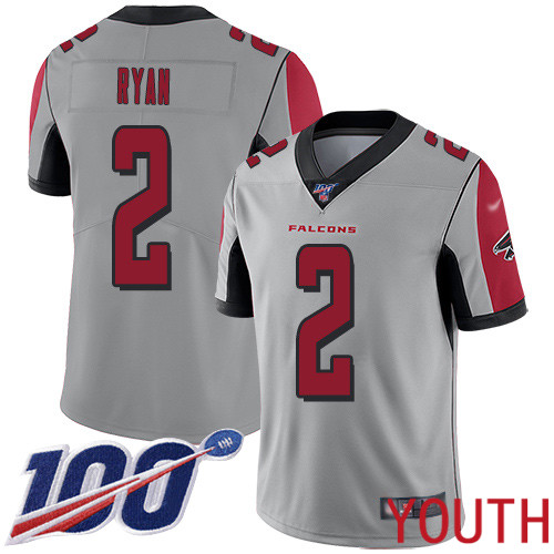 Atlanta Falcons Limited Silver Youth Matt Ryan Jersey NFL Football 2 100th Season Inverted Legend