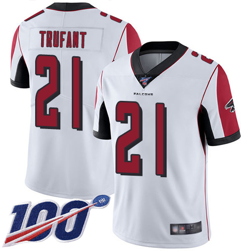 Atlanta Falcons Limited White Men Desmond Trufant Road Jersey NFL Football 21 100th Season Vapor Untouchable