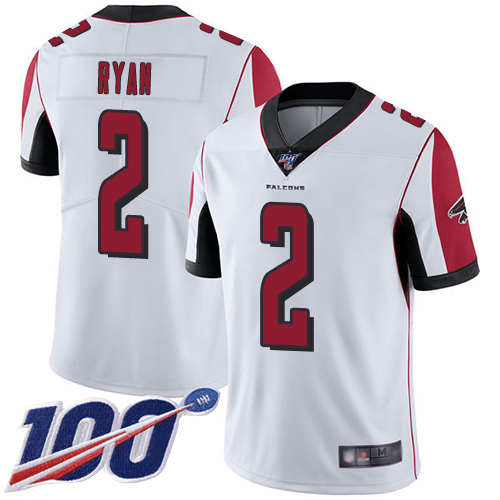 Atlanta Falcons Limited White Men Matt Ryan Road Jersey NFL Football 2 100th Season Vapor Untouchable