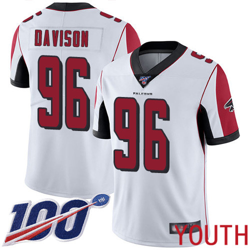 Atlanta Falcons Limited White Youth Tyeler Davison Road Jersey NFL Football 96 100th Season Vapor Untouchable