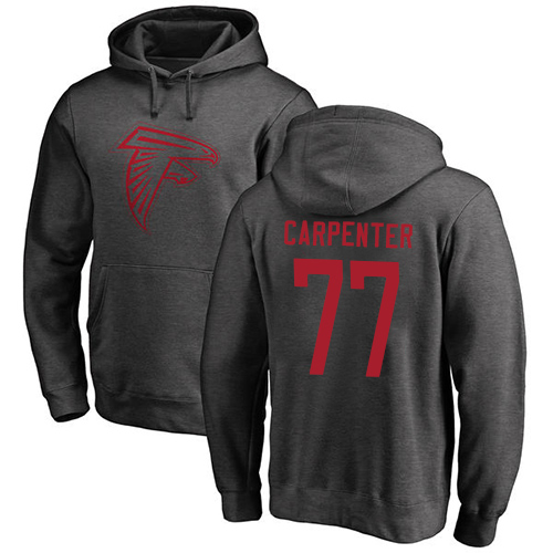 Atlanta Falcons Men Ash James Carpenter One Color NFL Football 77 Pullover Hoodie Sweatshirts