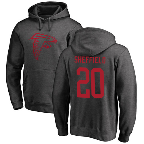 Atlanta Falcons Men Ash Kendall Sheffield One Color NFL Football 20 Pullover Hoodie Sweatshirts