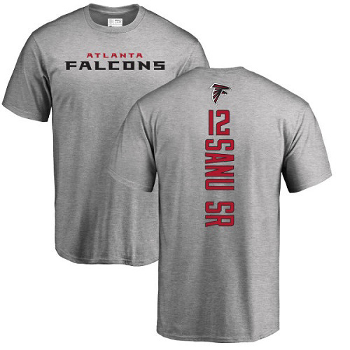 Atlanta Falcons Men Ash Mohamed Sanu Backer NFL Football 12 T Shirt