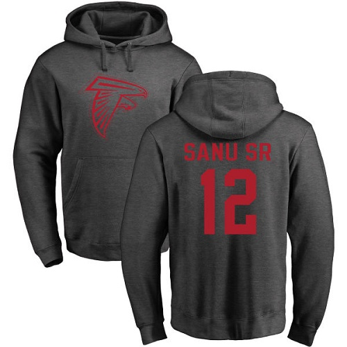Atlanta Falcons Men Ash Mohamed Sanu One Color NFL Football 12 Pullover Hoodie Sweatshirts