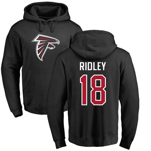 Atlanta Falcons Men Black Calvin Ridley Name And Number Logo NFL Football 18 Pullover Hoodie Sweatshirts