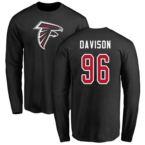Atlanta Falcons Men Black Tyeler Davison Name And Number Logo NFL Football 96 Long Sleeve T Shirt