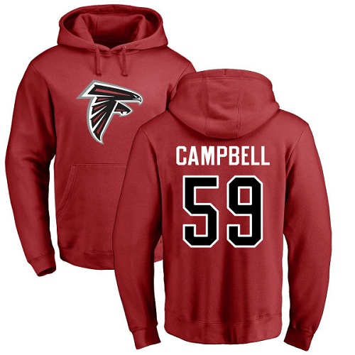 Atlanta Falcons Men Red De Vondre Campbell Name And Number Logo NFL Football 59 Pullover Hoodie Sweatshirts
