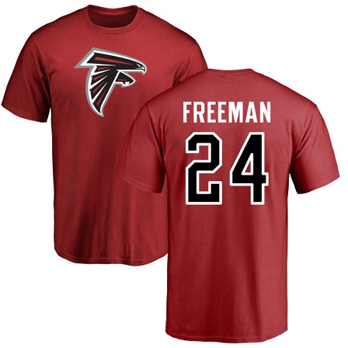 Atlanta Falcons Men Red Devonta Freeman Name And Number Logo NFL Football 24 T Shirt