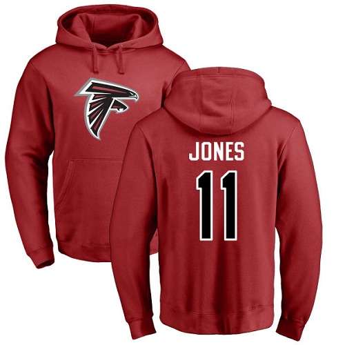 Atlanta Falcons Men Red Julio Jones Name And Number Logo NFL Football 11 Pullover Hoodie Sweatshirts