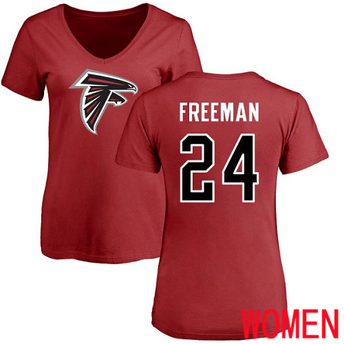 Atlanta Falcons Red Women Devonta Freeman Name And Number Logo NFL Football 24 T Shirt
