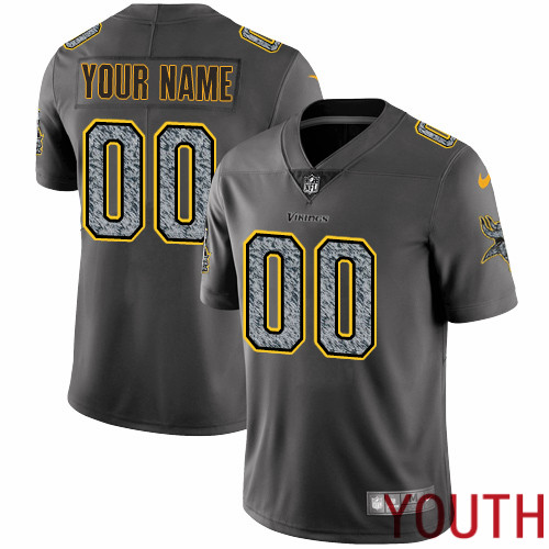 Best Limited Gray Static Nike NFL Youth Jersey Customized Minnesota Vikings Vapor Untouchable
